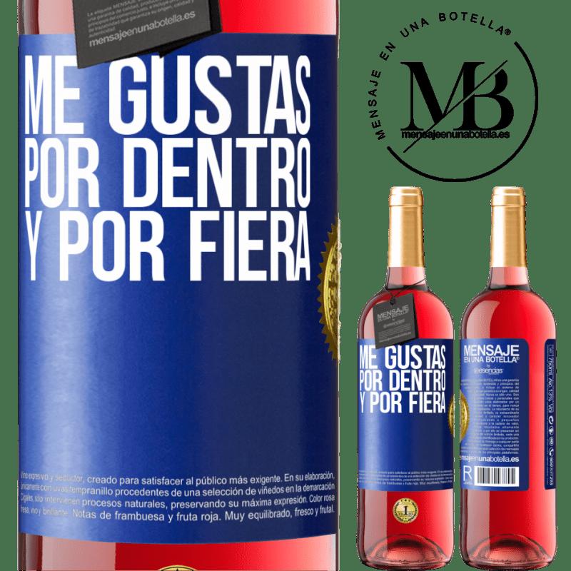 24,95 € Envoi gratuit   Vin rosé Édition ROSÉ Je t'aime à l'intérieur comme à l'extérieur Étiquette Bleue. Étiquette personnalisable Vin jeune Récolte 2020 Tempranillo