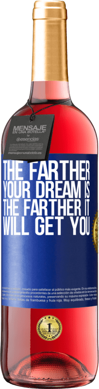 24,95 € Free Shipping | Rosé Wine ROSÉ Edition The farther your dream is, the farther it will get you Blue Label. Customizable label Young wine Harvest 2020 Tempranillo