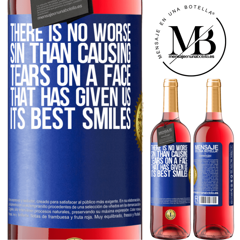 24,95 € Free Shipping   Rosé Wine ROSÉ Edition There is no worse sin than causing tears on a face that has given us its best smiles Blue Label. Customizable label Young wine Harvest 2020 Tempranillo