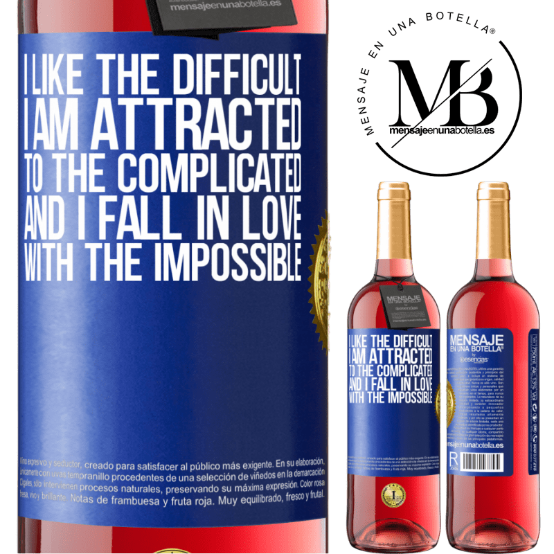 24,95 € Free Shipping   Rosé Wine ROSÉ Edition I like the difficult, I am attracted to the complicated, and I fall in love with the impossible Blue Label. Customizable label Young wine Harvest 2020 Tempranillo