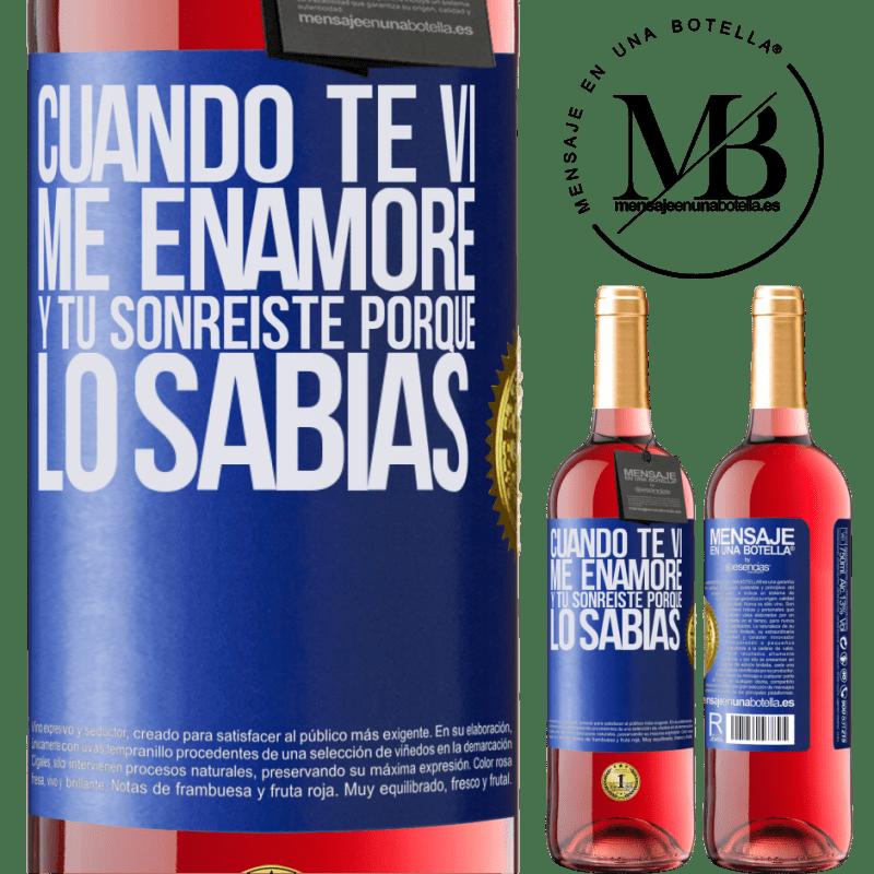24,95 € Envoi gratuit   Vin rosé Édition ROSÉ Quand je t'ai vu, je suis tombé amoureux, et tu as souri parce que tu le savais Étiquette Bleue. Étiquette personnalisable Vin jeune Récolte 2020 Tempranillo
