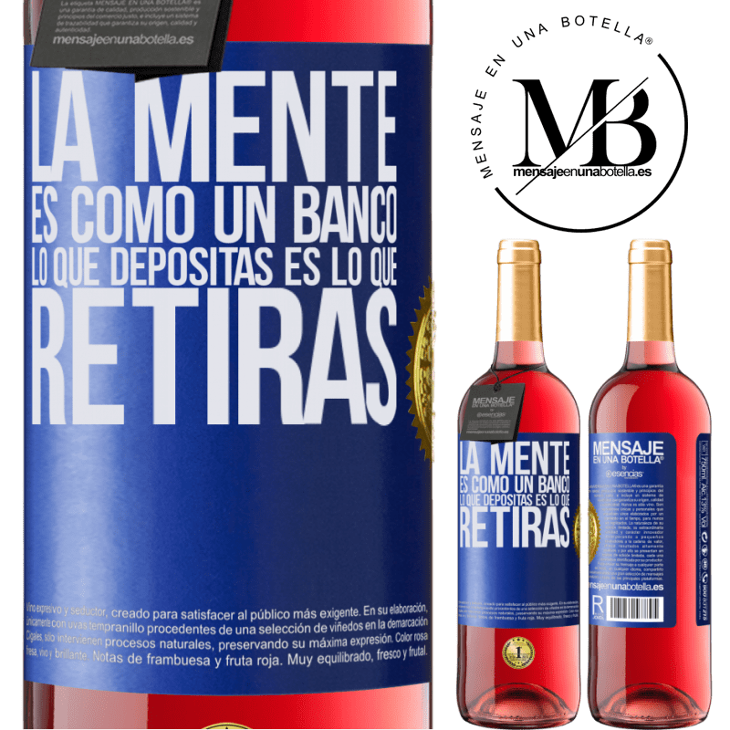 24,95 € Envoi gratuit   Vin rosé Édition ROSÉ L'esprit est comme une banque. Ce que vous déposez est ce que vous retirez Étiquette Bleue. Étiquette personnalisable Vin jeune Récolte 2020 Tempranillo