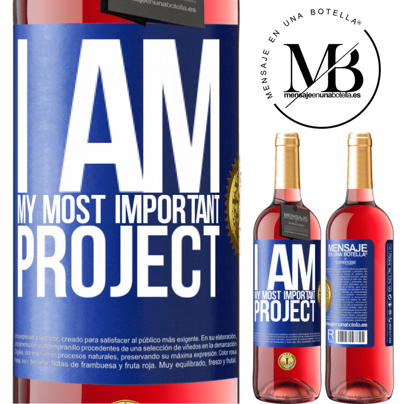 24,95 € Free Shipping   Rosé Wine ROSÉ Edition I am my most important project Blue Label. Customizable label Young wine Harvest 2020 Tempranillo