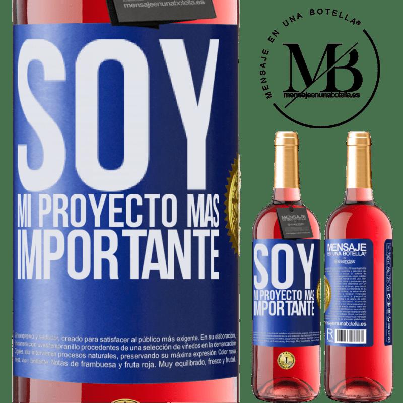 24,95 € Envoi gratuit | Vin rosé Édition ROSÉ Je suis mon projet le plus important Étiquette Bleue. Étiquette personnalisable Vin jeune Récolte 2020 Tempranillo