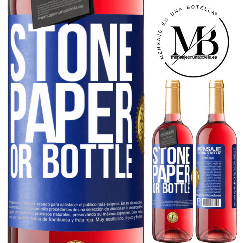 24,95 € Free Shipping | Rosé Wine ROSÉ Edition Stone, paper or bottle Blue Label. Customizable label Young wine Harvest 2020 Tempranillo
