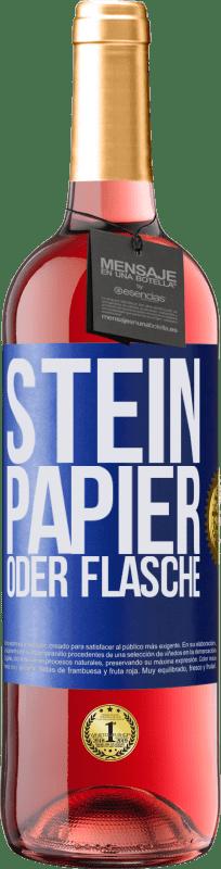 24,95 € Kostenloser Versand | Roséwein ROSÉ Ausgabe Stein, Papier oder Flasche Blaue Markierung. Anpassbares Etikett Junger Wein Ernte 2020 Tempranillo
