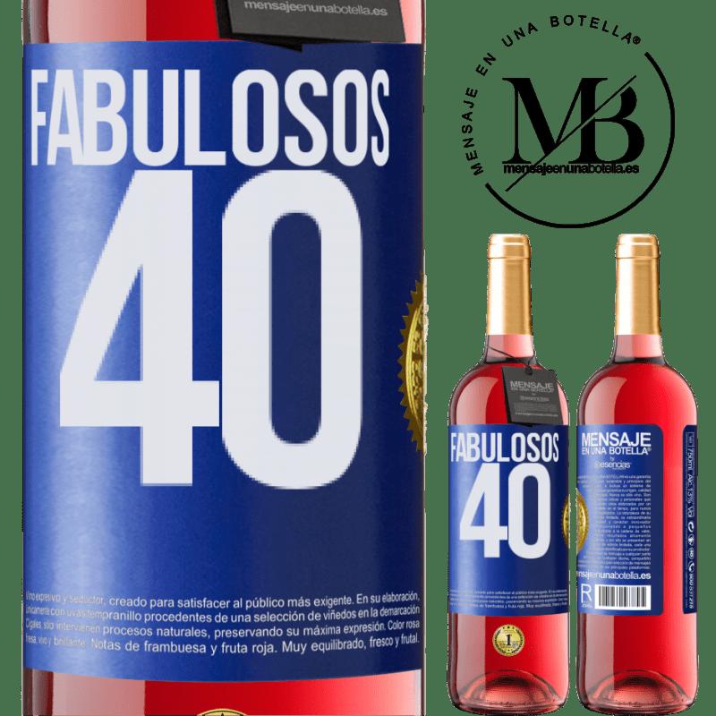 24,95 € Envoi gratuit | Vin rosé Édition ROSÉ Fabuleux 40 Étiquette Bleue. Étiquette personnalisable Vin jeune Récolte 2020 Tempranillo