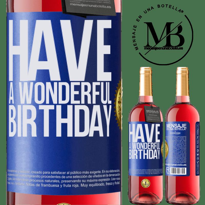 24,95 € Envoi gratuit   Vin rosé Édition ROSÉ Bon anniversaire Étiquette Bleue. Étiquette personnalisable Vin jeune Récolte 2020 Tempranillo