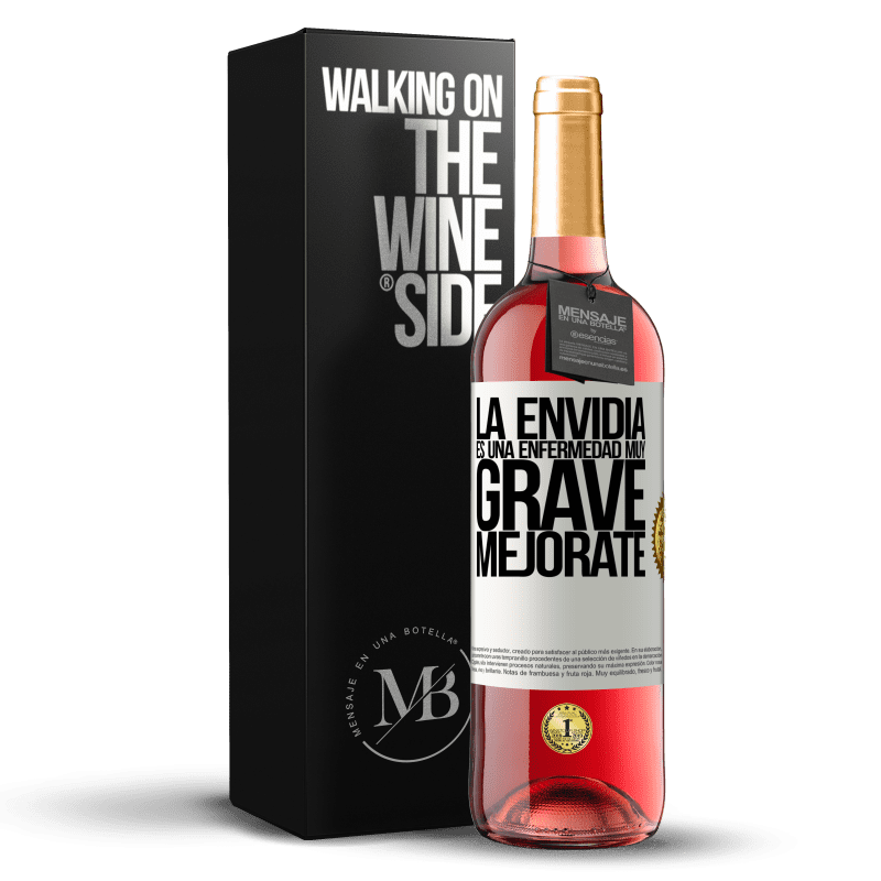 24,95 € Envoi gratuit | Vin rosé Édition ROSÉ L'envie est une maladie très grave, améliorez-vous Étiquette Blanche. Étiquette personnalisable Vin jeune Récolte 2020 Tempranillo