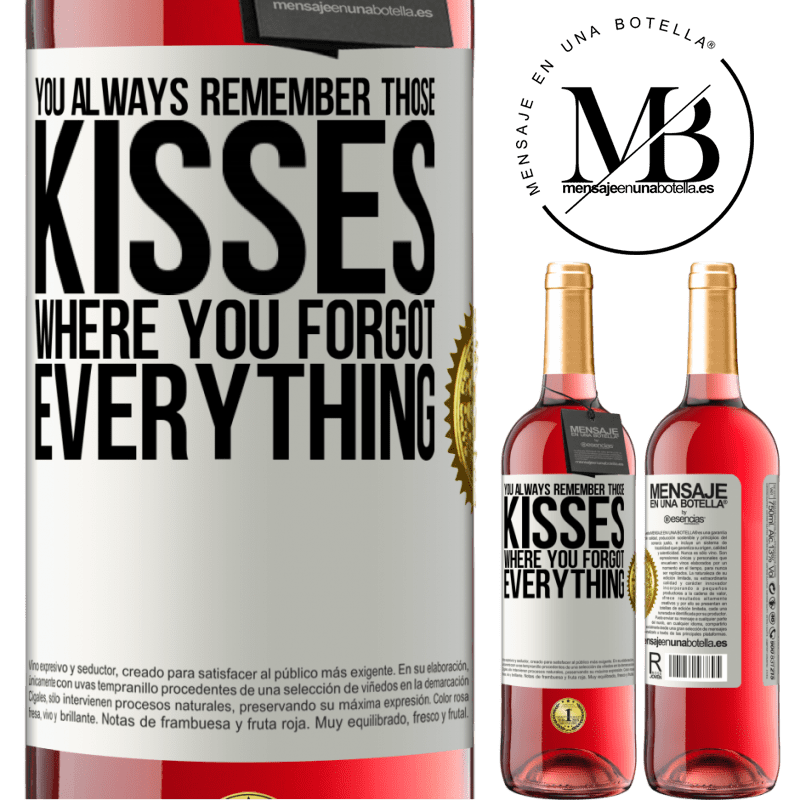 24,95 € Free Shipping | Rosé Wine ROSÉ Edition You always remember those kisses where you forgot everything White Label. Customizable label Young wine Harvest 2020 Tempranillo