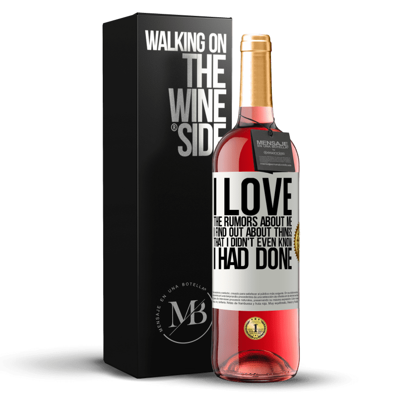 24,95 € Free Shipping | Rosé Wine ROSÉ Edition I love the rumors about me, I find out about things that I didn't even know I had done White Label. Customizable label Young wine Harvest 2020 Tempranillo