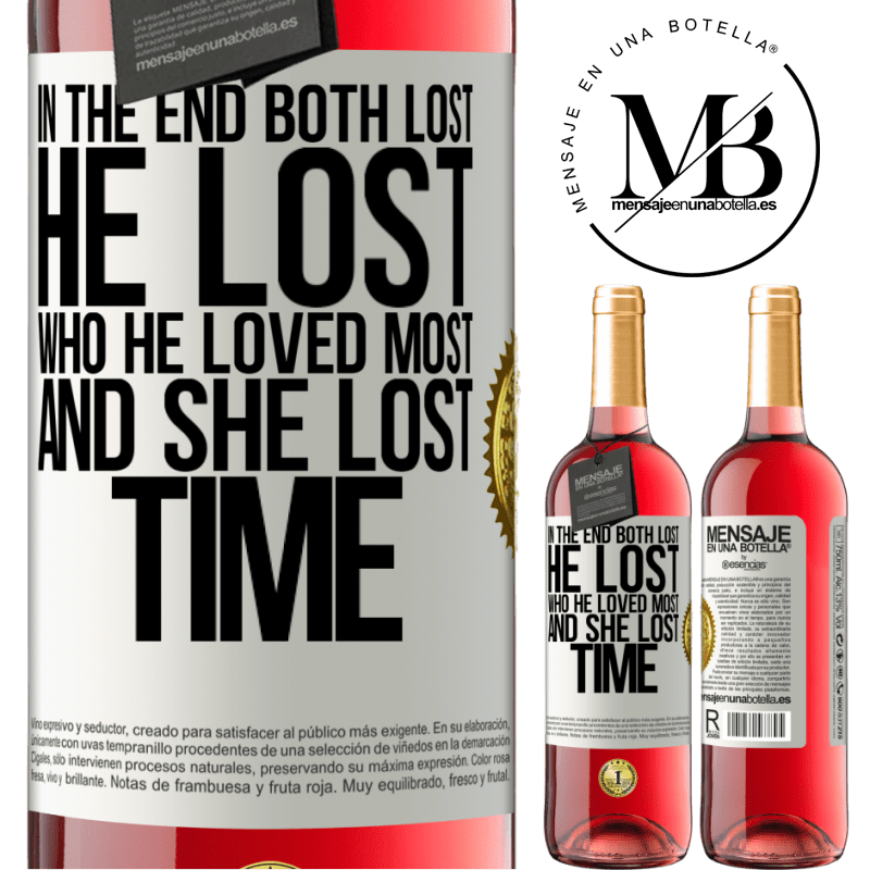 24,95 € Free Shipping   Rosé Wine ROSÉ Edition In the end, both lost. He lost who he loved most, and she lost time White Label. Customizable label Young wine Harvest 2020 Tempranillo