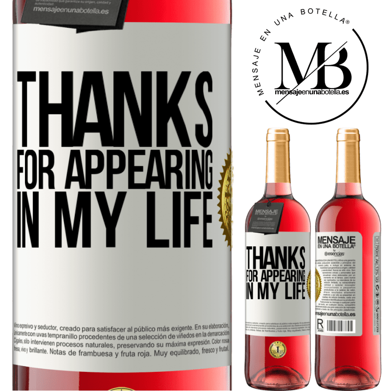 24,95 € Free Shipping | Rosé Wine ROSÉ Edition Thanks for appearing in my life White Label. Customizable label Young wine Harvest 2020 Tempranillo