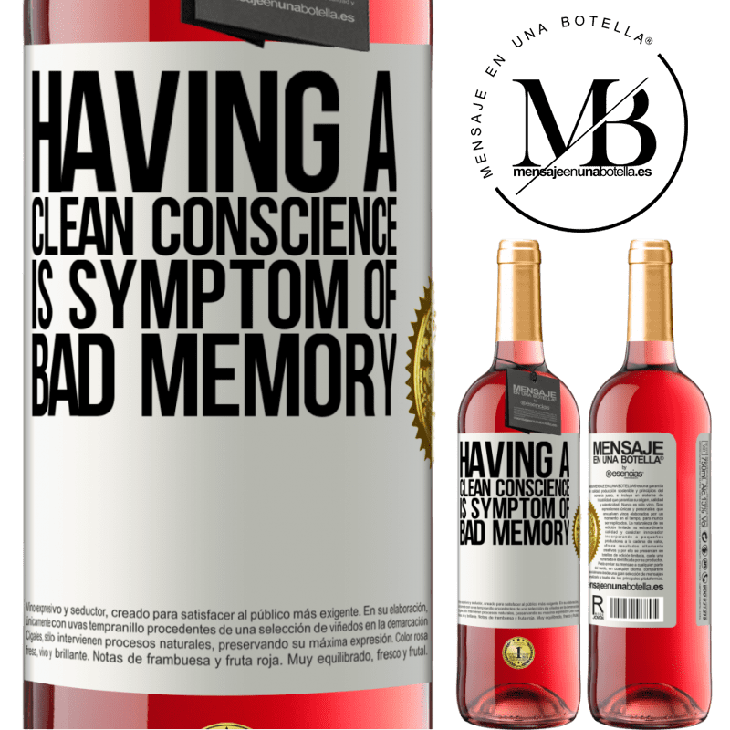 24,95 € Free Shipping | Rosé Wine ROSÉ Edition Having a clean conscience is symptom of bad memory White Label. Customizable label Young wine Harvest 2020 Tempranillo