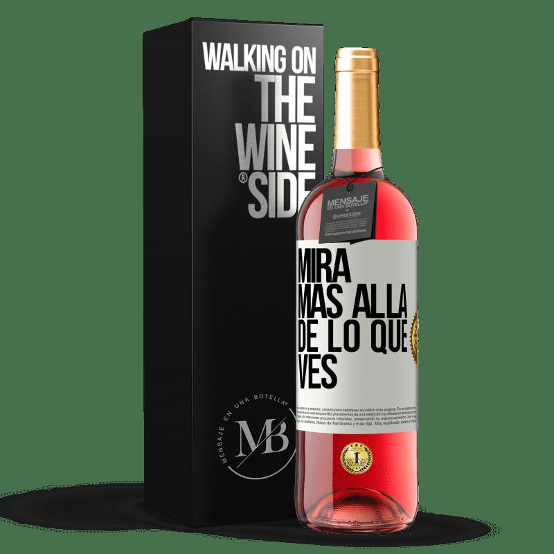 24,95 € Envío gratis | Vino Rosado Edición ROSÉ Mira más allá de lo que ves Etiqueta Blanca. Etiqueta personalizable Vino joven Cosecha 2020 Tempranillo