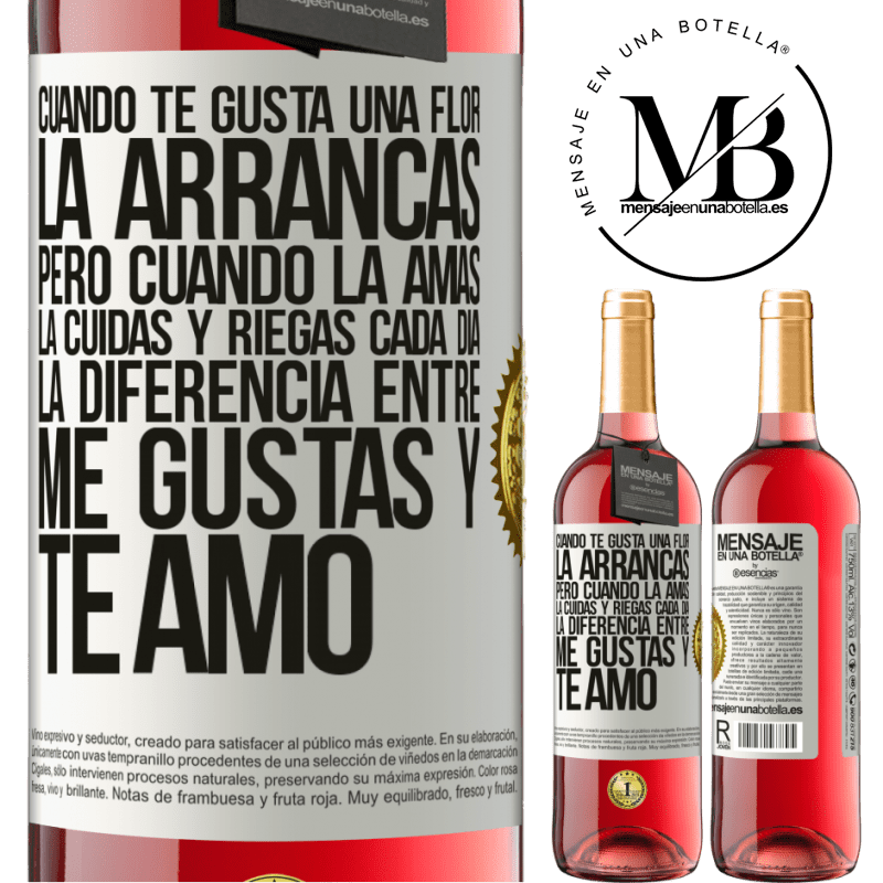 24,95 € Envoi gratuit | Vin rosé Édition ROSÉ Lorsque vous aimez une fleur, vous l'arrachez. Mais quand vous l'aimez, vous prenez soin d'elle et l'arrosez tous les jours Étiquette Blanche. Étiquette personnalisable Vin jeune Récolte 2020 Tempranillo