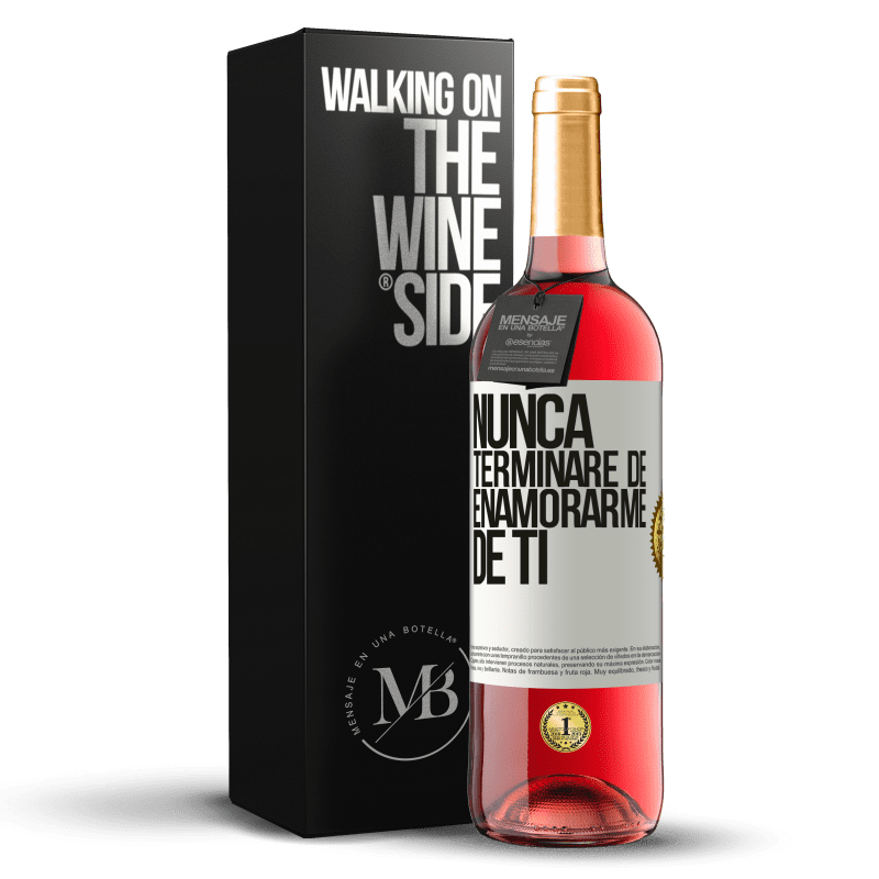 24,95 € Envoi gratuit | Vin rosé Édition ROSÉ Je ne cesserai jamais de tomber amoureux de toi Étiquette Blanche. Étiquette personnalisable Vin jeune Récolte 2020 Tempranillo