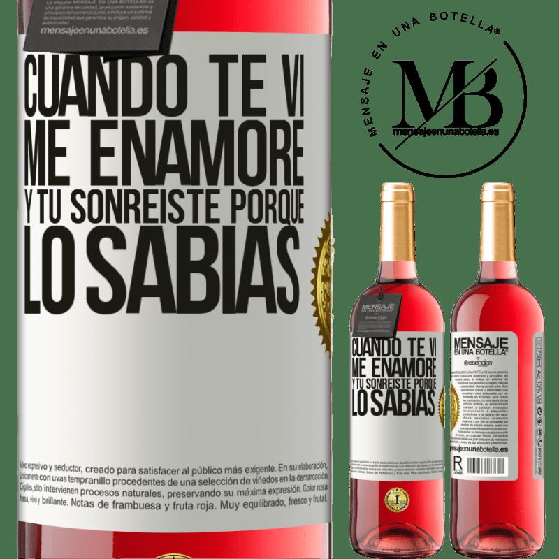 24,95 € Envoi gratuit   Vin rosé Édition ROSÉ Quand je t'ai vu, je suis tombé amoureux, et tu as souri parce que tu le savais Étiquette Blanche. Étiquette personnalisable Vin jeune Récolte 2020 Tempranillo