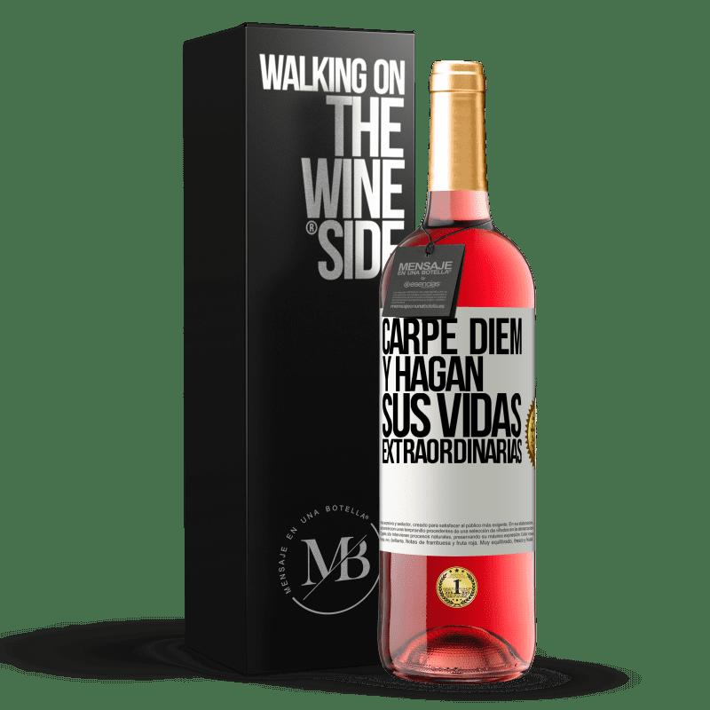 24,95 € Envoi gratuit | Vin rosé Édition ROSÉ Carpe Diem et rendre votre vie extraordinaire Étiquette Blanche. Étiquette personnalisable Vin jeune Récolte 2020 Tempranillo