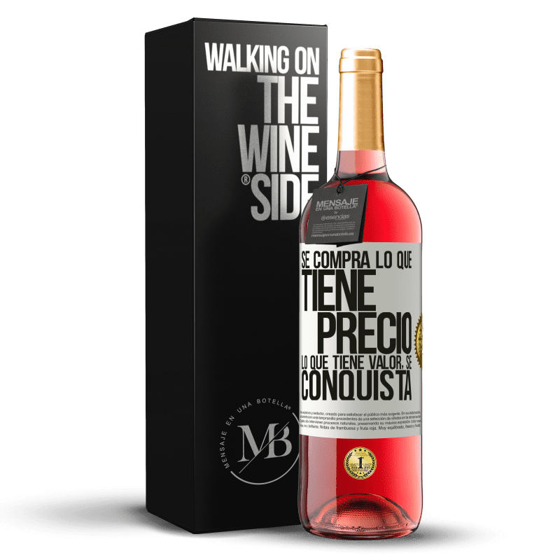24,95 € Envoi gratuit | Vin rosé Édition ROSÉ Vous achetez ce qui a un prix. Ce qui a de la valeur est conquis Étiquette Blanche. Étiquette personnalisable Vin jeune Récolte 2020 Tempranillo