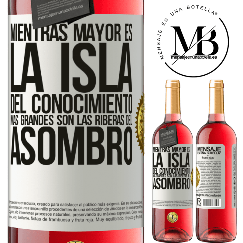 24,95 € Envoi gratuit | Vin rosé Édition ROSÉ Plus l'île de la connaissance est grande, plus les rives de l'émerveillement sont grandes Étiquette Blanche. Étiquette personnalisable Vin jeune Récolte 2020 Tempranillo