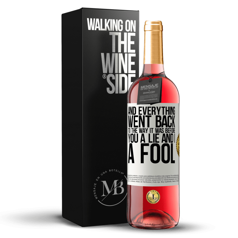 24,95 € Free Shipping   Rosé Wine ROSÉ Edition And everything went back to the way it was before. You a lie and I a fool White Label. Customizable label Young wine Harvest 2020 Tempranillo