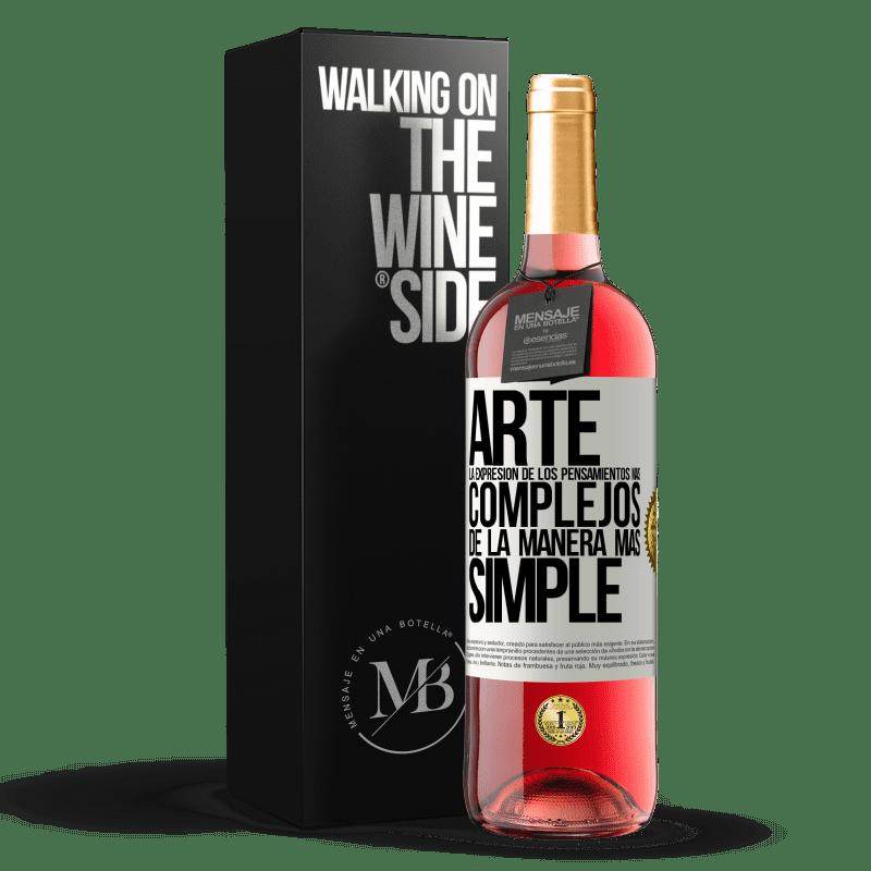 24,95 € Envoi gratuit | Vin rosé Édition ROSÉ ART L'expression des pensées les plus complexes de la manière la plus simple Étiquette Blanche. Étiquette personnalisable Vin jeune Récolte 2020 Tempranillo
