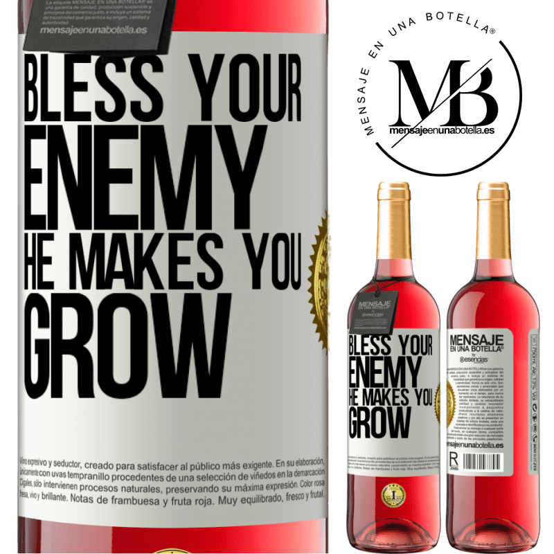 24,95 € Free Shipping   Rosé Wine ROSÉ Edition Bless your enemy. He makes you grow White Label. Customizable label Young wine Harvest 2020 Tempranillo