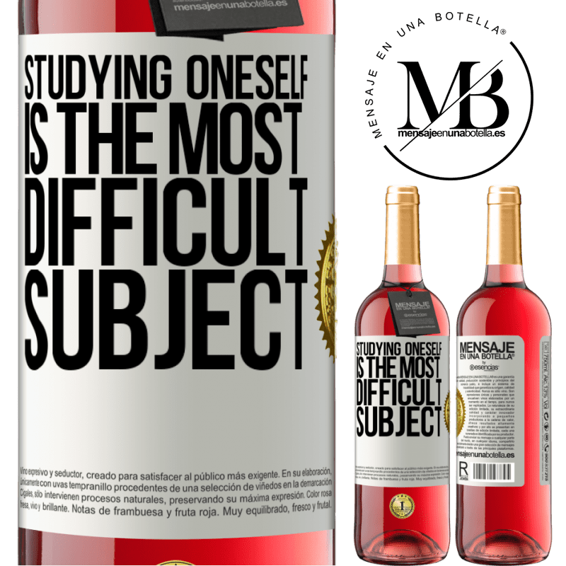 24,95 € Free Shipping | Rosé Wine ROSÉ Edition Studying oneself is the most difficult subject White Label. Customizable label Young wine Harvest 2020 Tempranillo