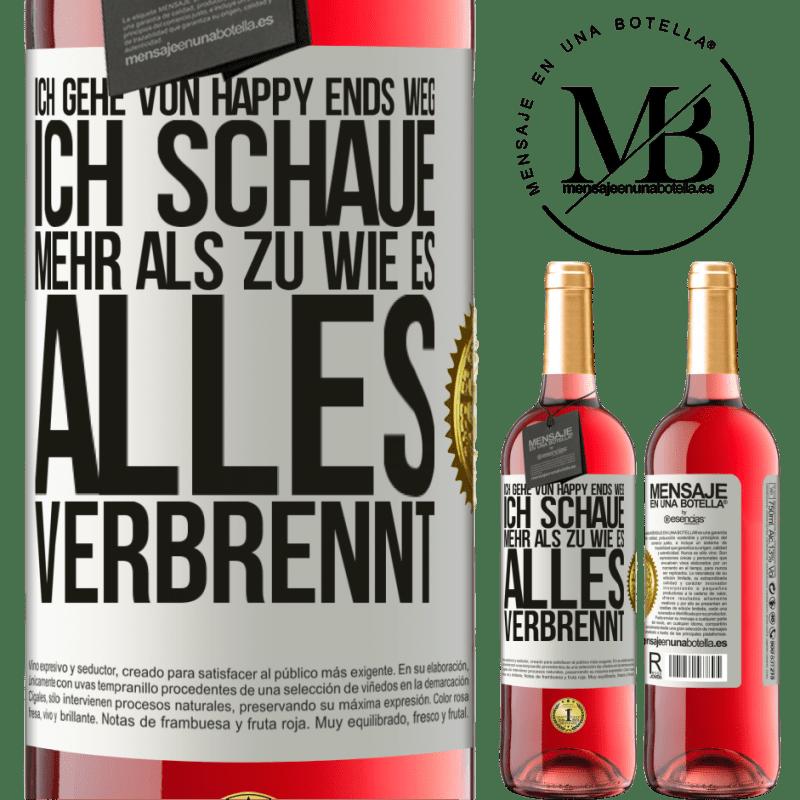 24,95 € Kostenloser Versand | Roséwein ROSÉ Ausgabe Ich gehe von Happy Ends weg, ich schaue mehr als zu, wie es alles verbrennt Weißes Etikett. Anpassbares Etikett Junger Wein Ernte 2020 Tempranillo
