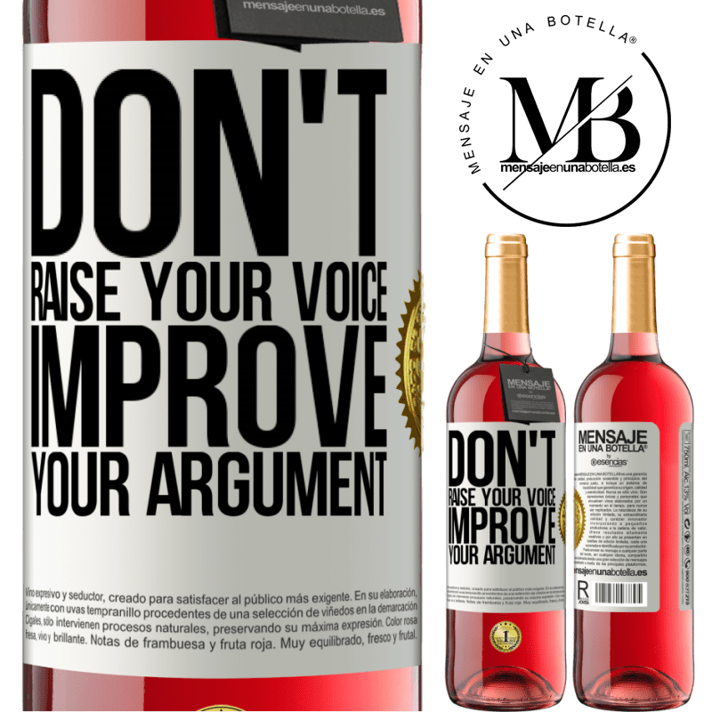 24,95 € Free Shipping   Rosé Wine ROSÉ Edition Don't raise your voice, improve your argument White Label. Customizable label Young wine Harvest 2020 Tempranillo