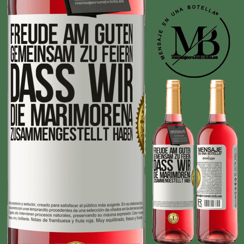 24,95 € Kostenloser Versand | Roséwein ROSÉ Ausgabe Freude am Guten, gemeinsam zu feiern, dass wir die Marimorena zusammengestellt haben Weißes Etikett. Anpassbares Etikett Junger Wein Ernte 2020 Tempranillo