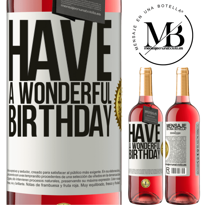 24,95 € Envoi gratuit   Vin rosé Édition ROSÉ Bon anniversaire Étiquette Blanche. Étiquette personnalisable Vin jeune Récolte 2020 Tempranillo