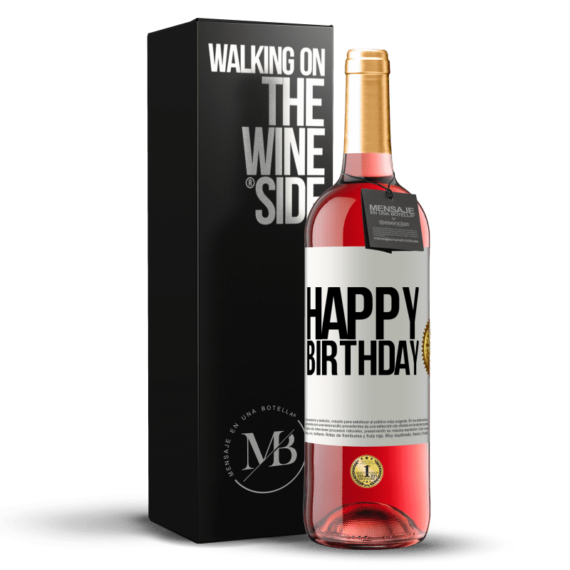 24,95 € Free Shipping | Rosé Wine ROSÉ Edition Happy birthday White Label. Customizable label Young wine Harvest 2020 Tempranillo