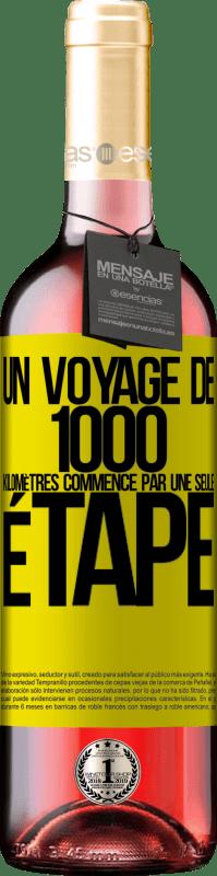 24,95 € Envoi gratuit | Vin rosé Édition ROSÉ Un voyage de mille kilomètres commence par une seule étape Étiquette Jaune. Étiquette personnalisable Vin jeune Récolte 2020 Tempranillo