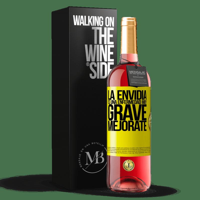 24,95 € Envoi gratuit | Vin rosé Édition ROSÉ L'envie est une maladie très grave, améliorez-vous Étiquette Jaune. Étiquette personnalisable Vin jeune Récolte 2020 Tempranillo