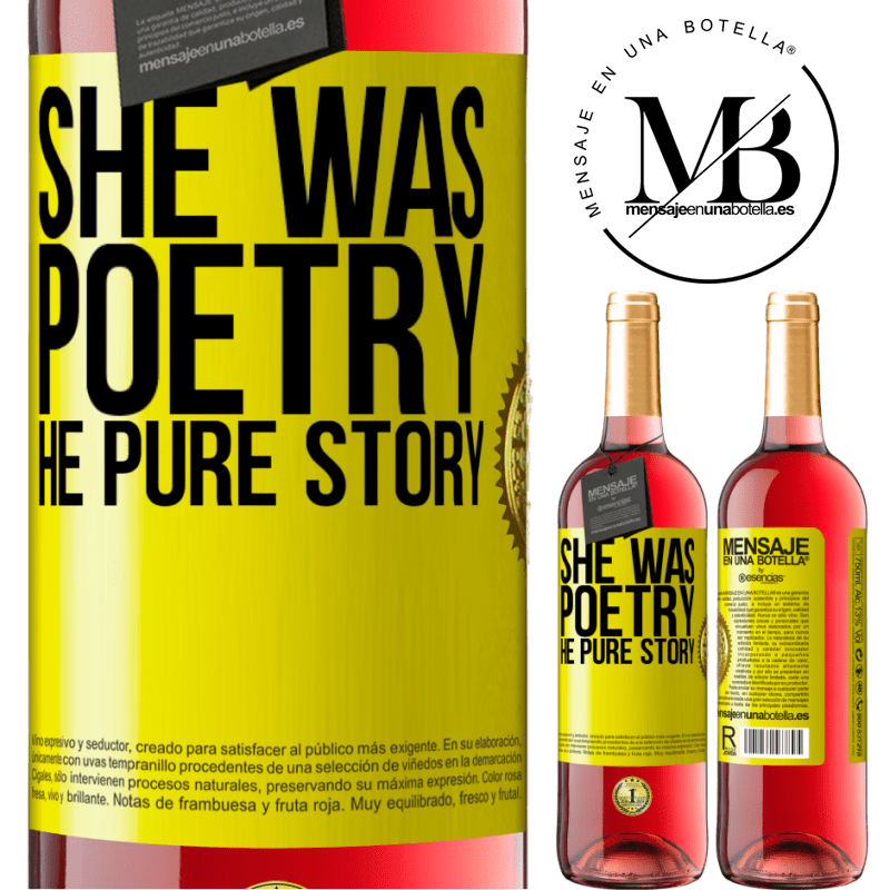 24,95 € Free Shipping   Rosé Wine ROSÉ Edition She was poetry, he pure story Yellow Label. Customizable label Young wine Harvest 2020 Tempranillo