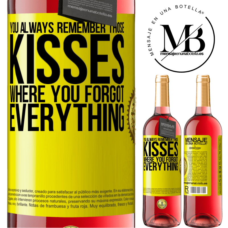 24,95 € Free Shipping | Rosé Wine ROSÉ Edition You always remember those kisses where you forgot everything Yellow Label. Customizable label Young wine Harvest 2020 Tempranillo
