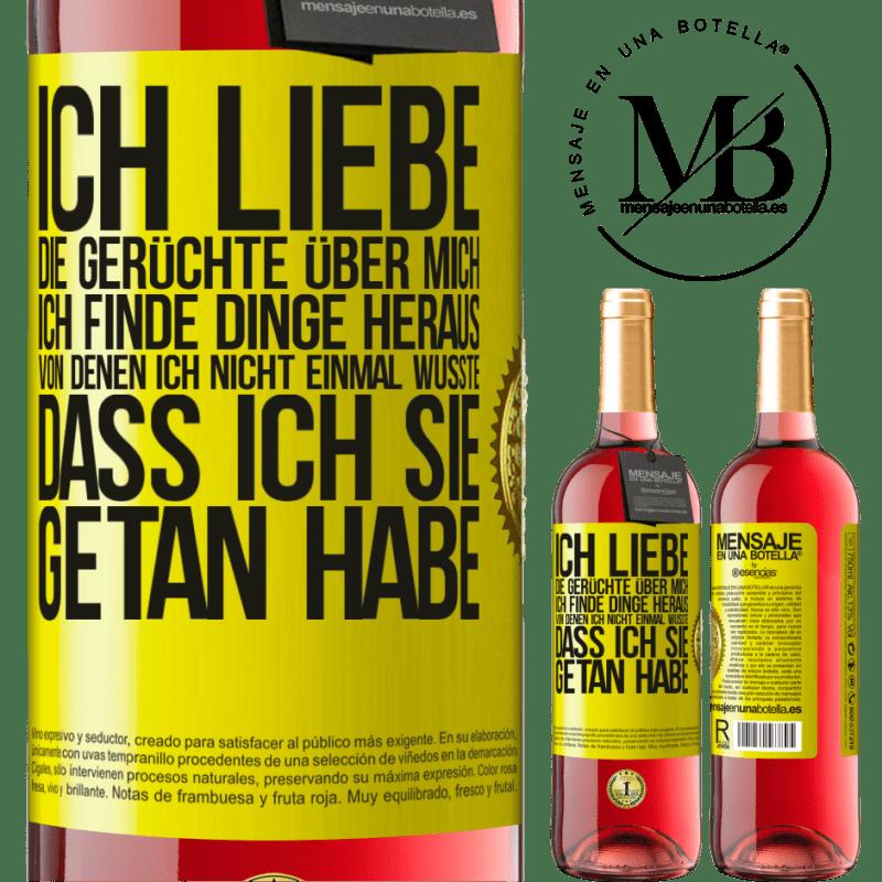 24,95 € Kostenloser Versand | Roséwein ROSÉ Ausgabe Ich liebe die Gerüchte über mich, ich finde Dinge heraus, von denen ich nicht einmal wusste, dass ich sie getan habe Gelbes Etikett. Anpassbares Etikett Junger Wein Ernte 2020 Tempranillo