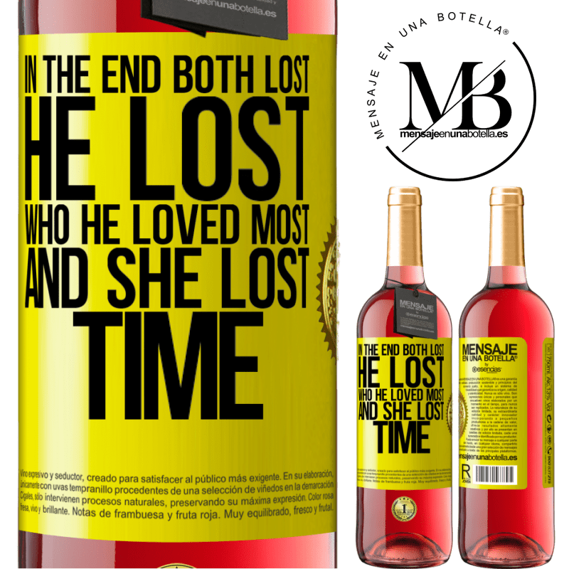 24,95 € Free Shipping   Rosé Wine ROSÉ Edition In the end, both lost. He lost who he loved most, and she lost time Yellow Label. Customizable label Young wine Harvest 2020 Tempranillo