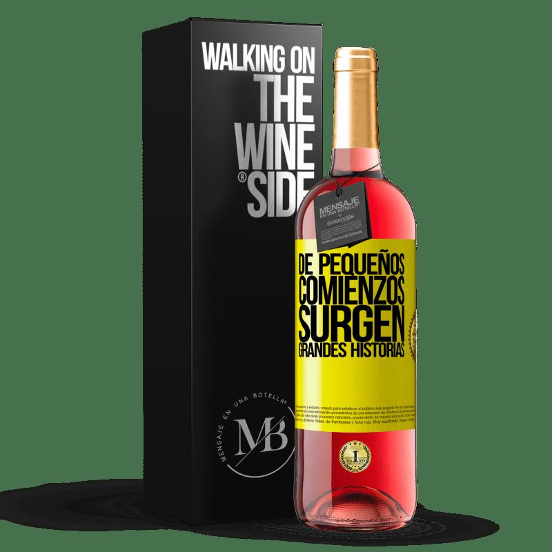 24,95 € Envoi gratuit   Vin rosé Édition ROSÉ De petits débuts surgissent de grandes histoires Étiquette Jaune. Étiquette personnalisable Vin jeune Récolte 2020 Tempranillo