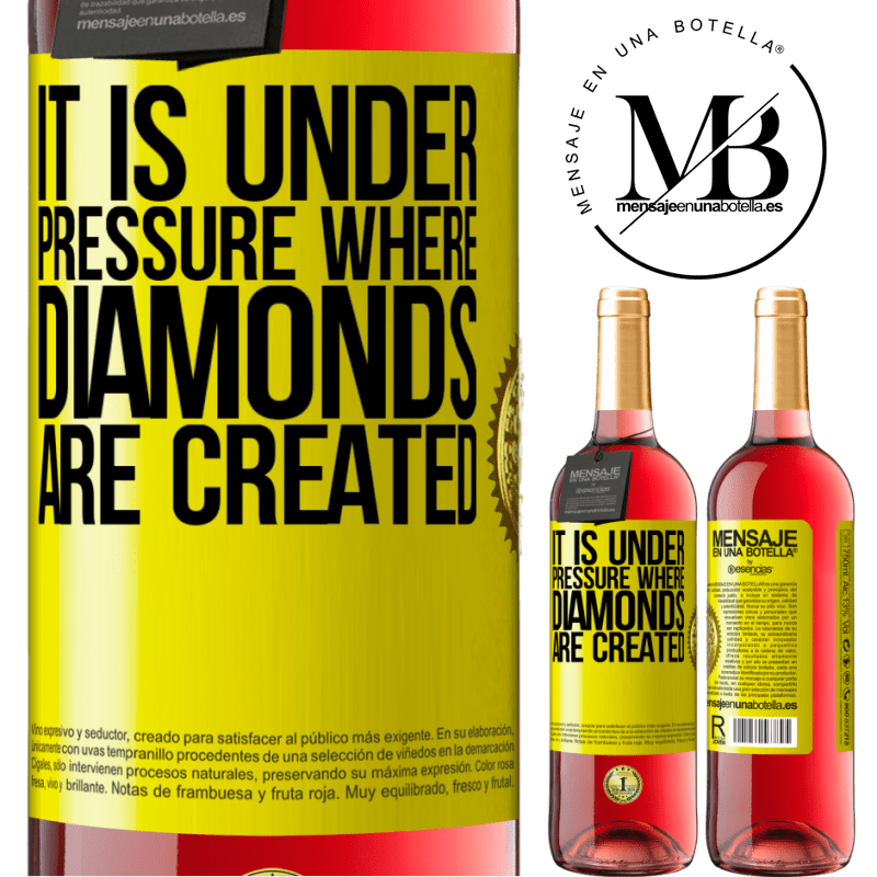 24,95 € Free Shipping | Rosé Wine ROSÉ Edition It is under pressure where diamonds are created Yellow Label. Customizable label Young wine Harvest 2020 Tempranillo