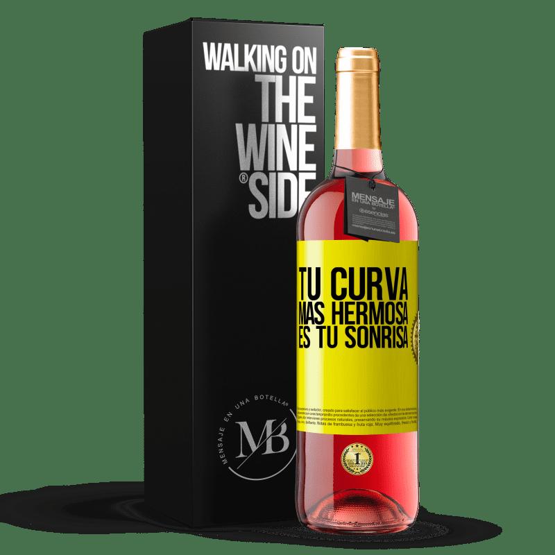 24,95 € Envoi gratuit | Vin rosé Édition ROSÉ Votre plus belle courbe est votre sourire Étiquette Jaune. Étiquette personnalisable Vin jeune Récolte 2020 Tempranillo