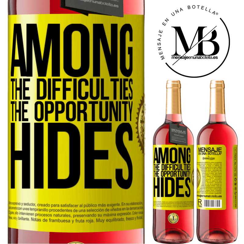 24,95 € Free Shipping | Rosé Wine ROSÉ Edition Among the difficulties the opportunity hides Yellow Label. Customizable label Young wine Harvest 2020 Tempranillo
