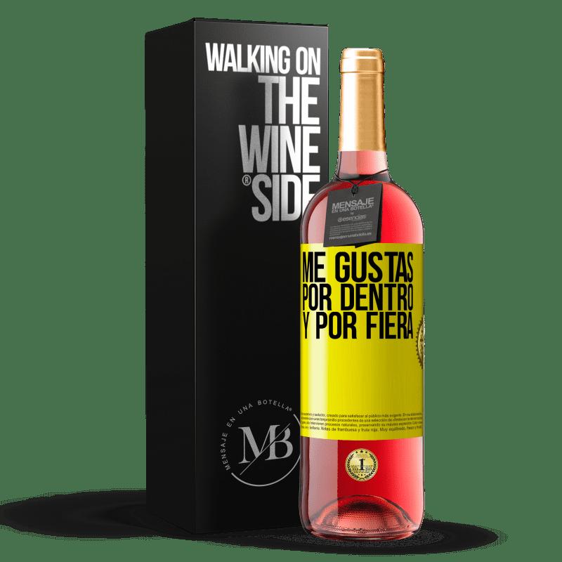 24,95 € Envoi gratuit   Vin rosé Édition ROSÉ Je t'aime à l'intérieur comme à l'extérieur Étiquette Jaune. Étiquette personnalisable Vin jeune Récolte 2020 Tempranillo