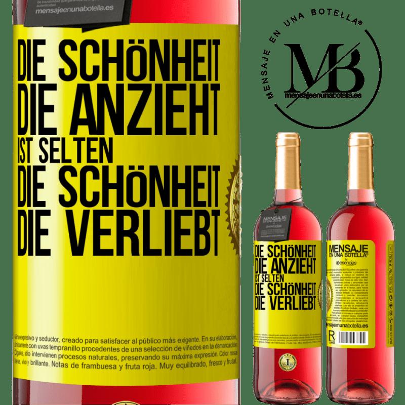 24,95 € Kostenloser Versand | Roséwein ROSÉ Ausgabe Die Schönheit, die anzieht, passt selten zu der Schönheit, die sich verliebt Gelbes Etikett. Anpassbares Etikett Junger Wein Ernte 2020 Tempranillo