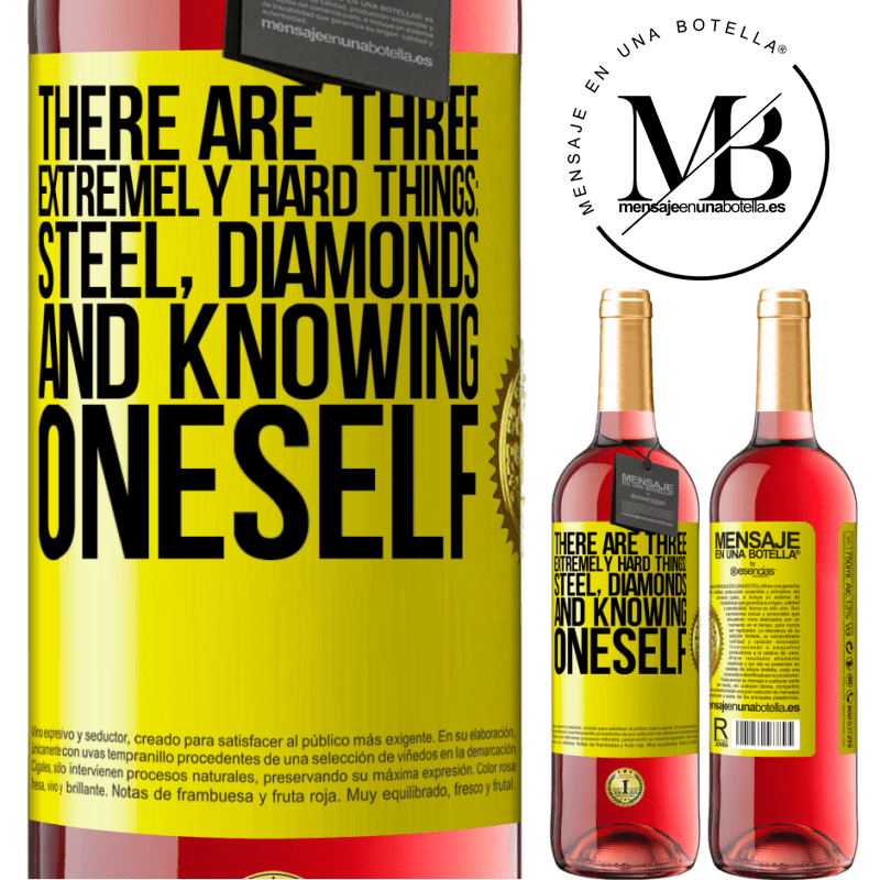 24,95 € Free Shipping | Rosé Wine ROSÉ Edition There are three extremely hard things: steel, diamonds, and knowing oneself Yellow Label. Customizable label Young wine Harvest 2020 Tempranillo