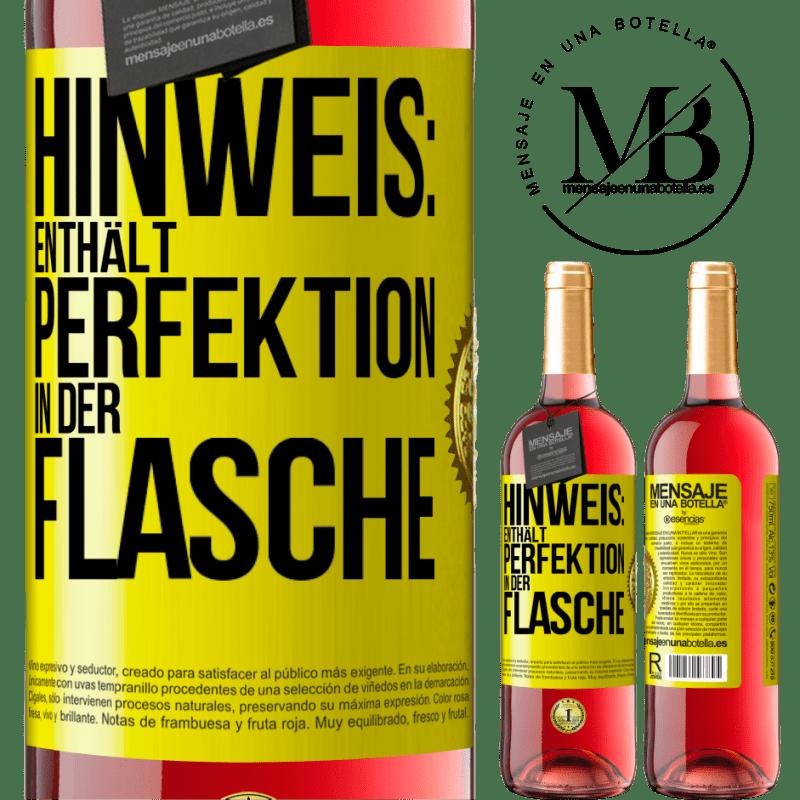 24,95 € Kostenloser Versand | Roséwein ROSÉ Ausgabe Hinweis: Enthält Perfektion in Flaschen Gelbes Etikett. Anpassbares Etikett Junger Wein Ernte 2020 Tempranillo