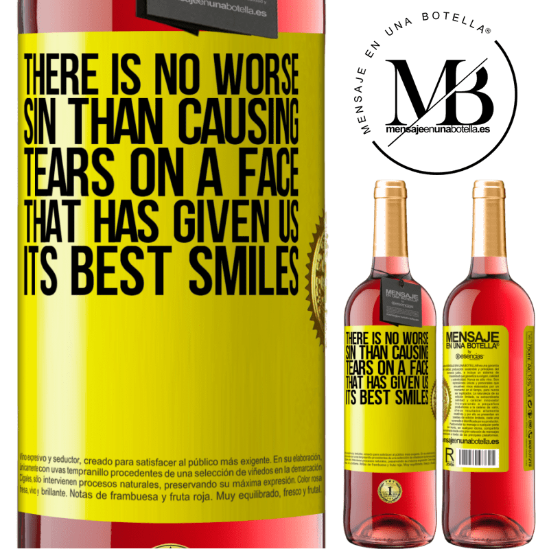 24,95 € Free Shipping   Rosé Wine ROSÉ Edition There is no worse sin than causing tears on a face that has given us its best smiles Yellow Label. Customizable label Young wine Harvest 2020 Tempranillo