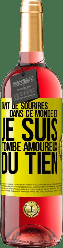 24,95 € Envoi gratuit | Vin rosé Édition ROSÉ Tant de sourires dans ce monde, et je devais tomber amoureux du tien Étiquette Jaune. Étiquette personnalisable Vin jeune Récolte 2020 Tempranillo